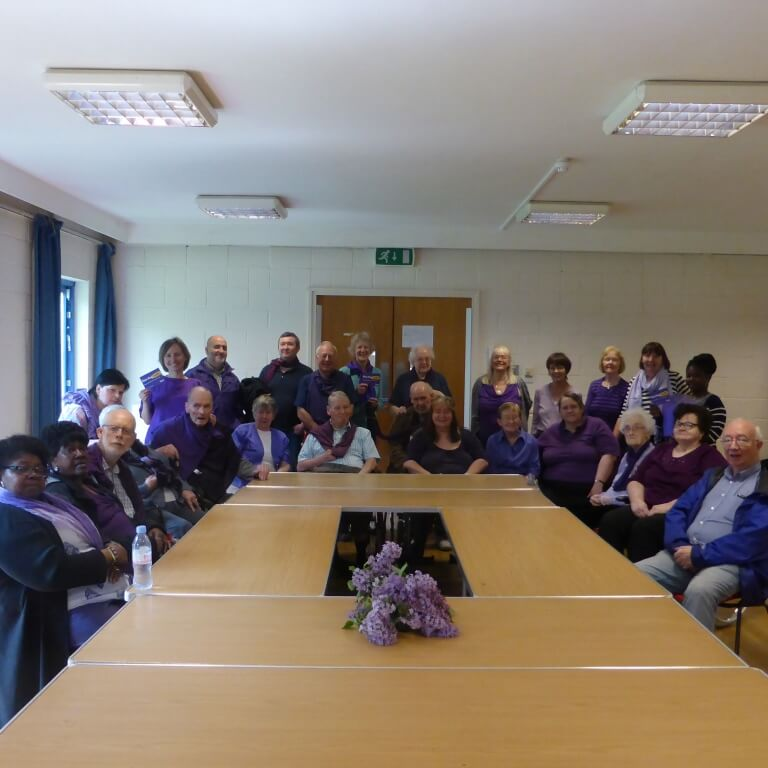 At the AGM in May 2016 wearing purple for Stroke Awareness month