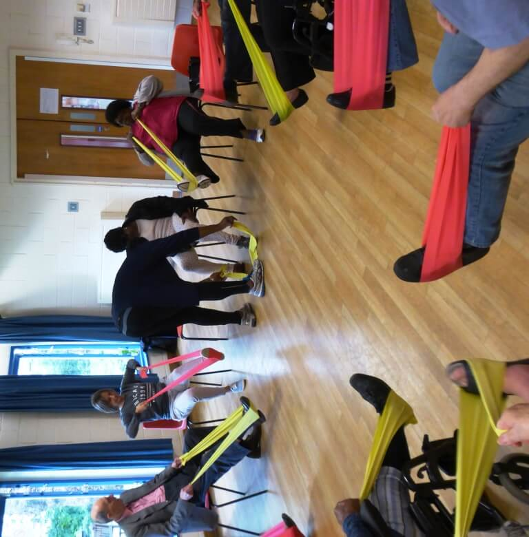 Fun exercising with stretch bands June 2016